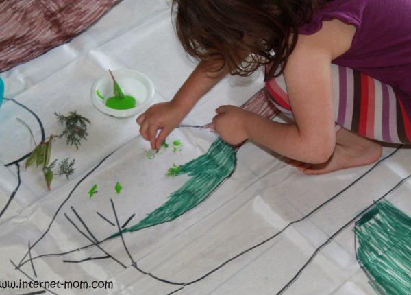 ציור בעזרת ענפים ועלים